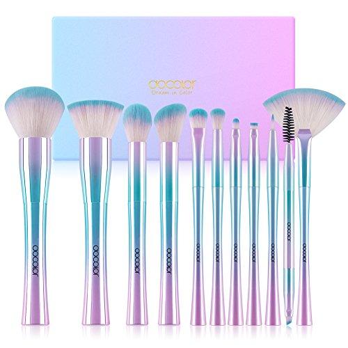 Docolor Makeup Brushes,11Pcs Fantasy Makeup Brush Set Flat Kabuki Foundation Powder Contour Eyeshadow Eyebrow Fan Make Up Brush, Unique Fantasy Starry Sky with Rainbow Gift Box