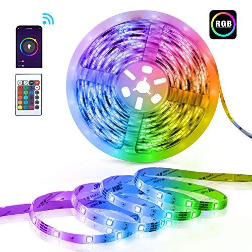 Teckins Tiras LED RGB Wifi 10M 5050 SMD 300 Leds Tira de Luces Colores Inteligente funciona con Alexa Móvil Google Home,Multi-Modos para Navidad,TV,Dormitorio,Fiesta y Decoración