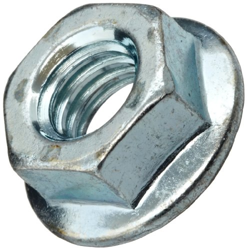 Steel Flange Nut, Zinc Plated Finish, Grade 2, Self-Locking Serrated Flange, Right Hand Threads, 1/4