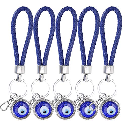 Llavero Lucky Eye de 5 Piezas, Amuleto de Llavero Colgante Turco Azul para el Bolso de la Buena Suerte, Adorno Colgante para el hogar, Accesorios para Espejo retrovisor