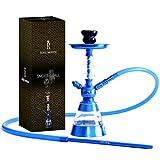 Royal Smoking Cachimba Shisha elegante diseño de cachimba en aluminio y acrílico de calidad 38cm Tubo negro chimenea y placa (AZUL)