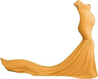 FYMNSI Umstandskleid Schwangere Elegante Fotografie Stützen Mutterschaft Schulterfreies Meerjungfrau Langes Abendkleid Damen Chiffon Hochzeit Maxikleid Fotoshooting Kostüme Umstandsmode Kleidung