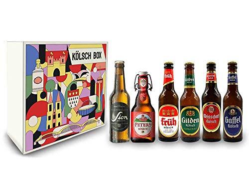 Kölsch 6er Bier Set - Sion (4,8% Vol.) + Gaffel (4,8% Vol) + Früh (4,8% Vol.) + Gilden (4,8% Vol.) + Reissdorf (4,8% Vol.) + Peters (4,8% Vol) - je 0,33L (bis auf Sion) - Inkl. Pfand MEHRWEG
