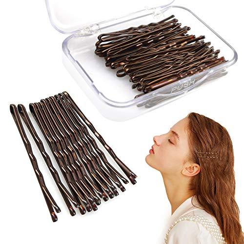 Ealicere 60 pièces Kit Epingles à Cheveux Marron Pinces à Cheveux Pince à Cheveux à Maintien Sécurisé Pinces à Cheveux pour Femmes Filles et Salon de Coiffure,1.77inch