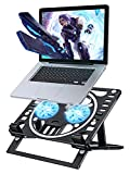 Adjustable Laptop Stand for Desk, ZEXMTE Multi-Function Computer Stand with Cooling Fan, Book Folder, Compatible with MacBook Pro, for 10 to 17.3 Inches Phone, Tablet or Notebook, Black