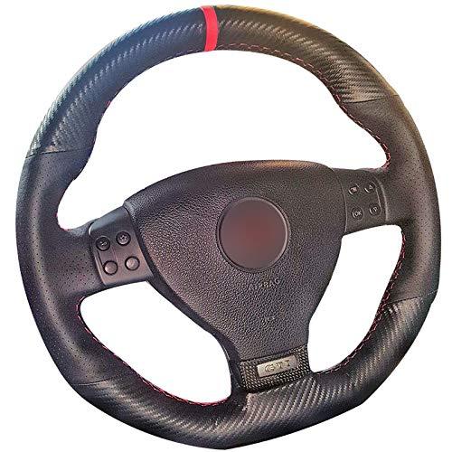 LILIGAUN voor Volkswagen Golf 6 GTI MK6, voor VW Polo GTI Scirocco R, voor Passat, CC R Line 2010 Black Car Steering Wheel Cover