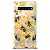 Cavka TPU Cover for Samsung Galaxy Case S20 Note 10 Plus 5G S10e S9 S8 S7 Realistic Bee Clear Honeycomb Slim fit Lightweight Yellow Print Soft Design Colorful Gift Flexible Silicone Elegant Bright