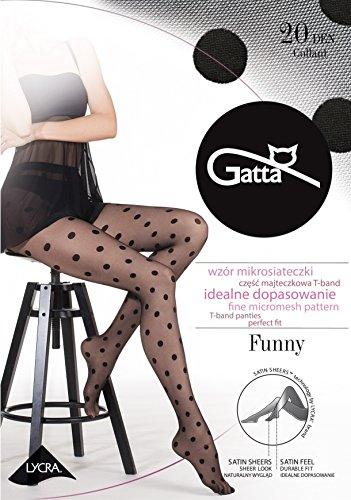 Gatta Damen Feinstrumpfhose mit Muster 20den (429-07) - Damen Strumpfhose mit Punkten schwarz - Größe 4-L - Nero