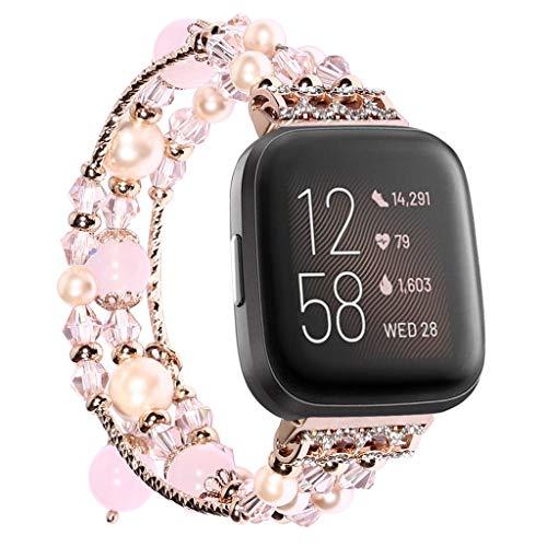 ALeis Handgefertigtes Armband aus Achat mit Perlen für Fitbit Versa/Fitbit Versa 2 (rosa)