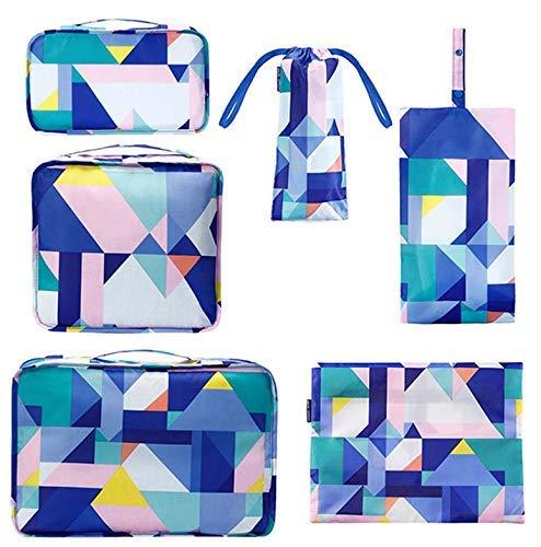 Cubos de Embalaje para Maleta, 6 PCS Organizadores de Embalaje de Viaje Impermeables Esenciales Set Organizador de Equipaje de Viaje Duradero y Transpirable Ropa Zapatos Cosméticos Artículos