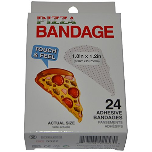 BioSwiss Novelty Bandages Self-Adhesive Funny First Aid, Novelty Gag Gift (24pc) (Pizza)