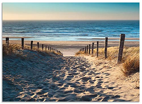 Artland Spritzschutz Küche aus Alu für Herd Spüle 50x70 cm Küchenrückwand mit Motiv Natur Strand Meer Weg Nordsee Sonne Gräser Dünenn Maritim T9IP