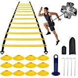 Speed Agility Training Kit — Indoor Outdoor Adjustable Rungs Agility Ladder, Resistance Parachute, 4 Steel Stakes, 12 Disc Cones - Kit for Soccer,Hockey, Basketball Drill,Lacrosse (Yellow)