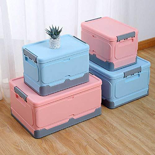 NC Folding Storage Box Plastic Storage Box Foldable Car Storage Box Student Books and Sundries Sorting Large Pink