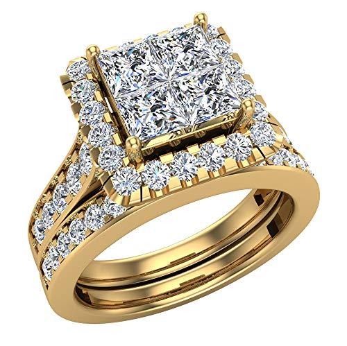 Princess Cut Wedding Rings Set for Women 14K Yellow Gold Quad Illusion 1.80 ct tw (J, I1) (Ring Size 6.5)