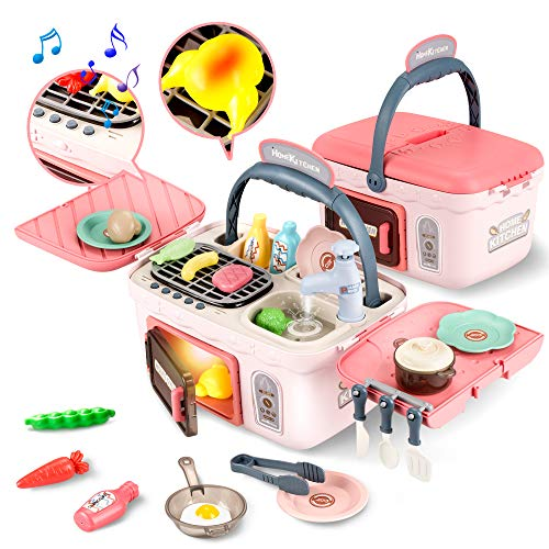 GrowthPic Play Kitchen Picnic Basket for Kids, Toy Kitchen Sets for Girls with Realistic Lights & Sounds, Color Changing Play Food, Play Sink and Pretend Play Oven, Pink