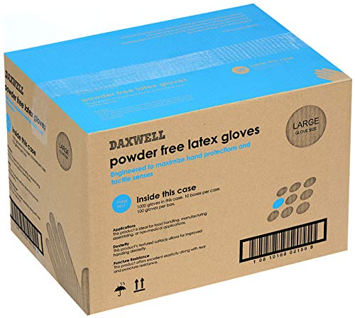 Daxwell Latex Glove, Powder Free, Large, Ivory (10 Boxes of 100 Gloves)