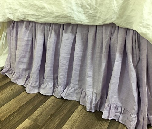 Fantastic Deal! Lavender Linen Bed Skirt with Ruffle Hem, Romantic and Pretty!