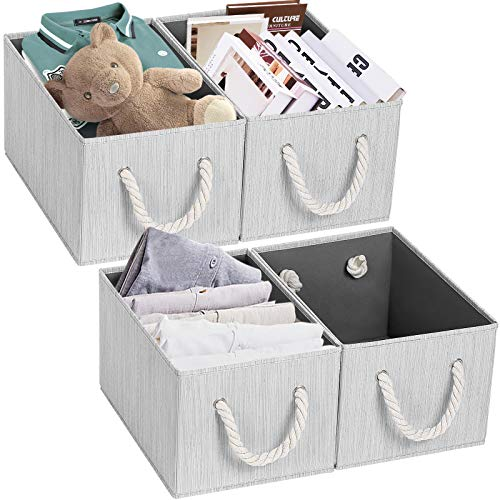 TomCare Storage Cubes Foldable Decorative Baskets 4-Pack Fabric Storage Bins Storage Box with Rope Handles Cube Organizer Bins Storage Containers for Living Room Bedroom Office Grey