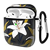 Slim Form Fitted Printing Pattern Cover Case with Carabiner Compatible with Airpods 1 and AirPods 2 / Lily Flowers with Branches and Leaves Scattered Random