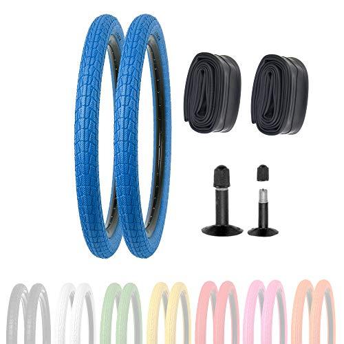 P4B   2X 20 Zoll Kinderreifen (50-406)   20 x 1.95   Verstärkte Karkasse für erhöhten Pannenschutz   Für BMX, Freestyle und Kinderfahrräder (S) 2X Reifen in Blau mit AV Schläuchen