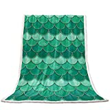 Flannel Fleece Sherpa Blanket Mermaid Scale Fish Scaled Fuzzy Cozy Lightweight Throw Blanket for Baby/Kids/Adults, Ombre Watercolor Green Perfect for Winter Couch Bed Sofa 50 x 80 inches