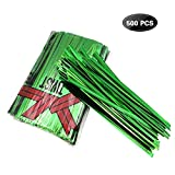 XC-TIE 500PCS 4'' Metallic Twist Ties Plastic Cable Ties for Bread Candy Bags, Party Cello, Cake Pops (Green-500PCS)