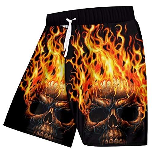 Pantalones cortos ocasionales de los hombres de impresión fresca del cráneo de la llama 3D Beach cortocircuitos del tablero de Hiphop Streetwear qick seco poliéster Pantalones Flame Skull 4XL