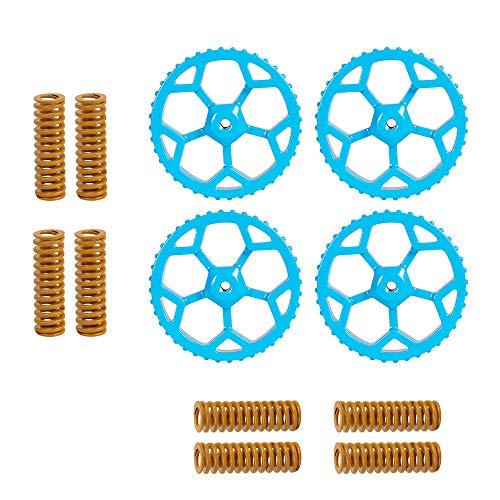 Sovol 4PCS Aluminium Hand Twist Nivelliermutter Blau mit 8PCS Heißbett-Druckfedern für Ender 3/3 Pro/3 V2, Ender 5/5 Plus/Pro, CR-10, CR10S / 10S Pro, CR 20 3D-Drucker