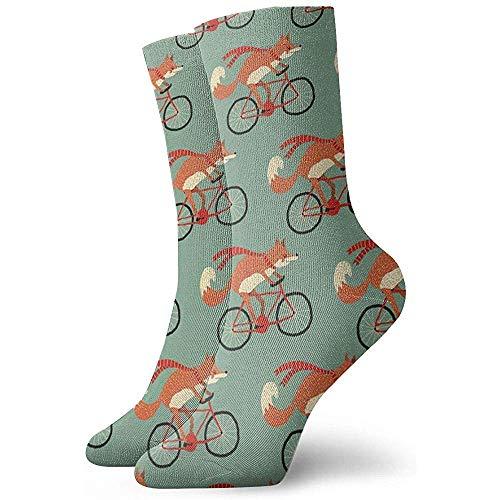hgfyef Lässige Crew Socken Fox Riding A Bicycle Knöchel Socken Kurzes Kleid Kompressionssocken für Frauen MenBeautiful 9697