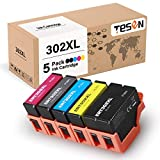 TESEN Remanufactured 302XL Ink Cartridge Replacement for Epson 302XL 302 T302XL T302 with Upgraded Chip Use with Epson XP-6000 XP-6100 Printer 5 Pack T302XL020 T302XL120 T302XL220 T302XL320 T302XL420