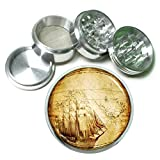 Vintage Pirate Ship D5 Chrome Silver 2.5' Aluminum Magnetic Metal Herb Grinder 4 Piece Hand Muller Herb & Spice Heavy Duty 63mm Retro High Seas