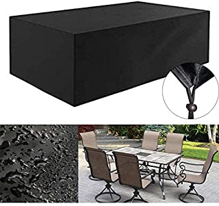 420D Heavy Duty Canvas Rectangle Patio Table Cover- Waterproof Outdoor Patio Furniture Covers with Durable Hem Cord, Outdoor Dining Table Cover Patio Furniture Set Covers(L 108
