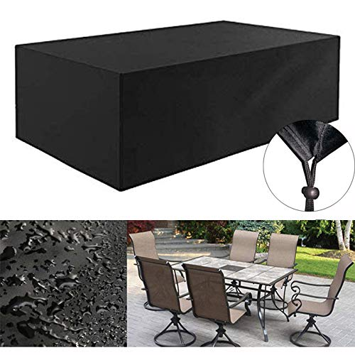 420D Heavy Duty Canvas Rectangle Patio Table Cover- Waterproof Outdoor Patio Furniture Covers with Durable Hem Cord, Outdoor Dining Table Cover Patio Furniture Set Covers(L 72' x W 46' x H 28')