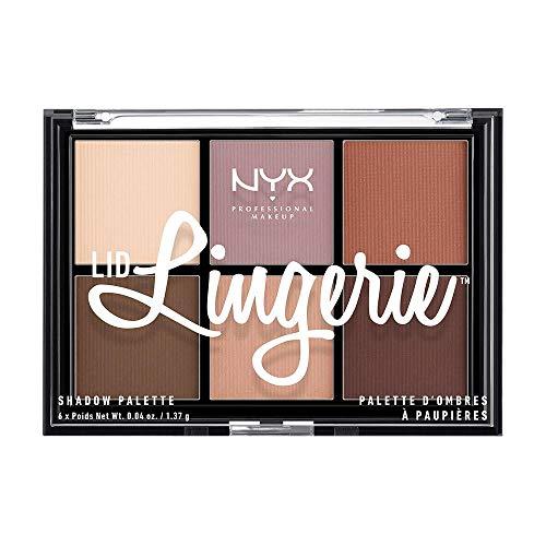 NYX Professional Makeup Palette de Fards à Paupières Lid Lingerie, Pigments Pressés, 6 Fards Crémeux au Fini Mat
