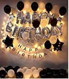 Theme My Party Birthday Decorations Kit Black and Silver Birthday Party Supplies