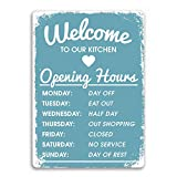 MAIYUAN Welcome to Our Kitchen Opening Hours Metal Tin Sign for Hotel Restaurant Bar Home Wall Decor 7.8 x 11.8 Inches
