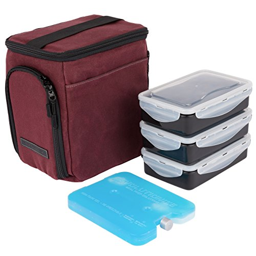 EDC Meal Prep Bag Mini by Evolutionize - Full Meal Management System - Holds 3 Meals - Includes Portion Control Meal Prep Containers + Ice Pack (MINI - 3 Meal, Maroon (Waxed Canvas))