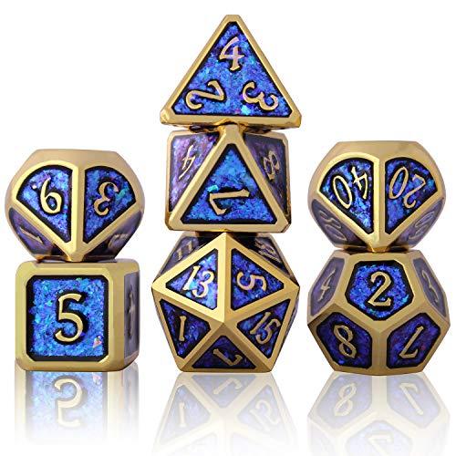 Dadi D&D Set in Metallo, Poliedrici 7-Die Dice Set per Dungeons And Dragons Rpg Gioco dei Dadi D&D, Dadi in Polvere fotosensibili, con Custodia Imbottita Regalo (A)