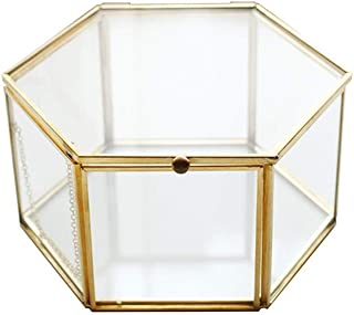 Povinmos Geometric Clear Glass Jewelry Box Jewelry Organizer Holder Tabletop Succulent Plants Container Home Jewelry Storage -Small
