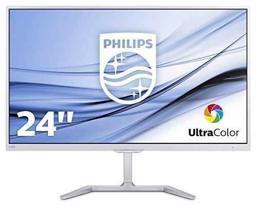 """Philips 246E7QDSW Monitor da 24"""",LED PLS Full HD, 1920 x 1080, 5ms, Ultra Wide Color, Flicker Free, Elegante, HDMI, DVI, VGA, Attacco VESA, Bianco"""