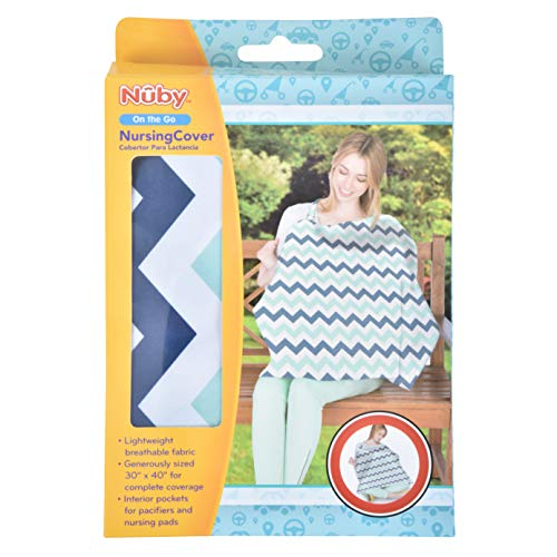 """Nuby Nursing Cover with Interior Pockets, Damask, 26"""" x 34"""""""