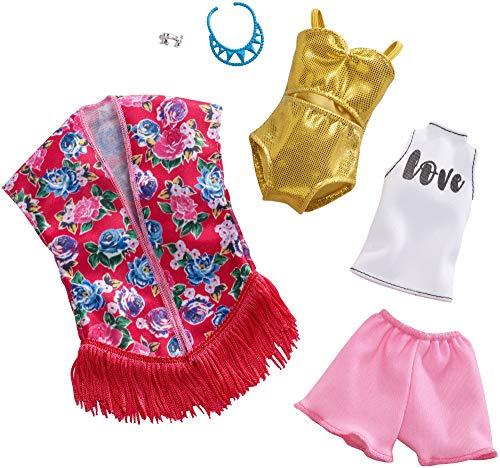 Barbie FXJ62 Fashions poppenkleding 2-pack Beach Kimono Swimsuit modes en accessoires, poppenaccessoires vanaf 3 jaar