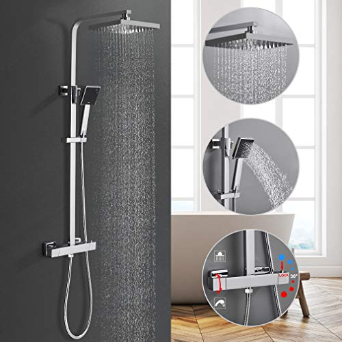 BONADE Duschsystem mit Thermostat, 304 Edelstahl Duschset Eckig Duschsäule inkl. Handbrause + Regenbrause + Verstellbarer Duschstange, Anti-Verbrühungs-Duschsystem