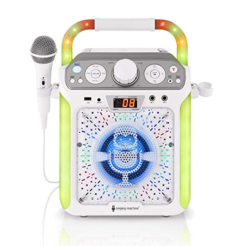 Singing Machine SML682BTW Groove Cube CDG Karaoke System, White, (SML682BTWD)