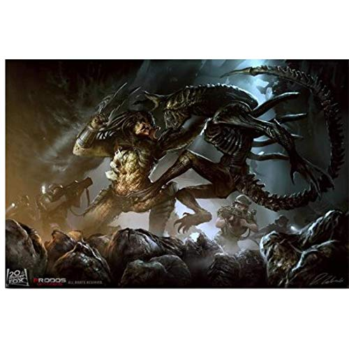 FJPDLAKE Alien Vs Predator Game Movie Poster and Prints Wall Art Canvas Painting Canvas Prints for Home Wall Decor -20X30 Inch No Frame 1 PCS