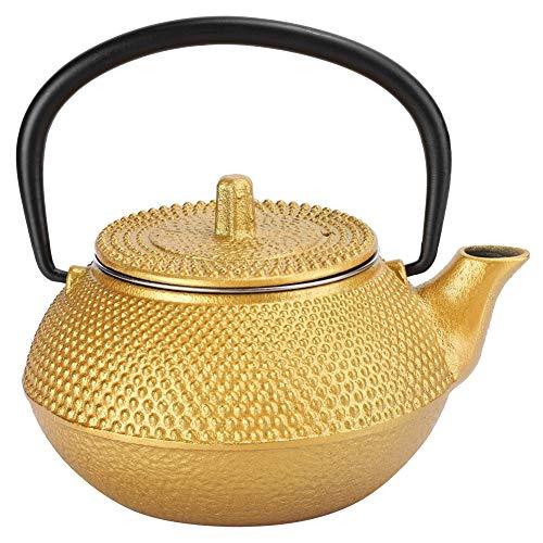 Tetera de té, 0.3L Tipo de gancho recto Tetera de té de hierro fundido japonés Decoración del hogar Artesanías elegantes Coleccionables Regalo sin recubrimiento