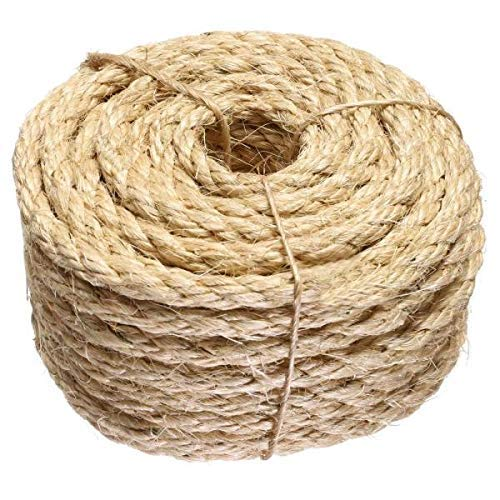 ATERET 3/8 Inch by 100-Feet Sisal Rope I Natural Fiber Twisted Sisal Rope I Multipurpose, Lightweight, Weather-Resistant Rope for Indoor/Outdoor Use, Rugs, Marine, and DIY Projects (1-Pack)