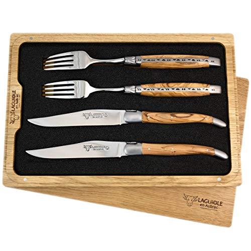 Laguiole en Aubrac Premium Set de couverts à steak forgés comprenant 2 couteaux à steak et 2 fourchettes à steak en bois d'olivier