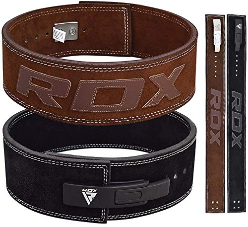 RDX Sollevamento pesi Cintura Fibbia a leva Gym Powerlifting Pelle bovina Pelle Fitness Esercizio Bodybuilding
